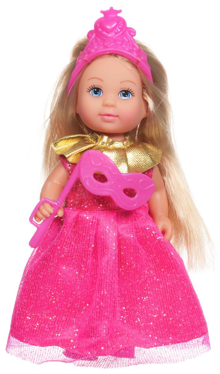 Simba Мини-кукла Еви Принцесса цвет розовый5733460_розовое(золотой ворот)Мини-кукла Simba Еви-принцесса порадует любую девочку и позволит ей окунуться в сказочный мир волшебства. Малышка Еви одета в длинное платье принцессы, украшенное блестками, а на голове у нее - изящная тиара. Вашей дочурке непременно понравится заплетать длинные белокурые волосы куклы, придумывая разнообразные прически. В комплект также входит маскарадная маска для куклы. Руки, ноги и голова куклы подвижны, благодаря чему ей можно придавать разнообразные позы. Игры с куклой способствуют эмоциональному развитию, помогают формировать воображение и художественный вкус, а также разовьют в вашей малышке чувство ответственности и заботы. Великолепное качество исполнения делают эту куколку чудесным подарком к любому празднику.