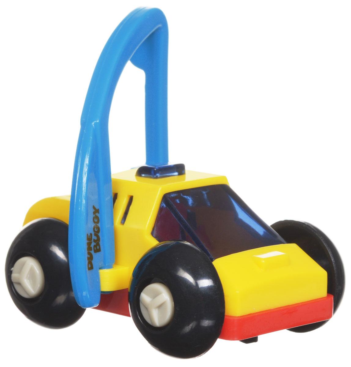 Hans Игрушка заводная Багги цвет желтый красный голубой2K-62BDИгрушка Hans Багги привлечет внимание вашего малыша и не позволит ему скучать! Выполненная из безопасного пластика, игрушка представляет собой забавную машинку. Игрушка имеет механический завод. Для запуска, придерживая колеса, поверните заводной ключ по часовой стрелке до упора. Установите игрушку на поверхность, и она поедет вперед, также во время движения машинка поднимается на задние колеса. Заводная игрушка Hans Багги поможет ребенку в развитии воображения, мелкой моторики рук, концентрации внимания и цветового восприятия.