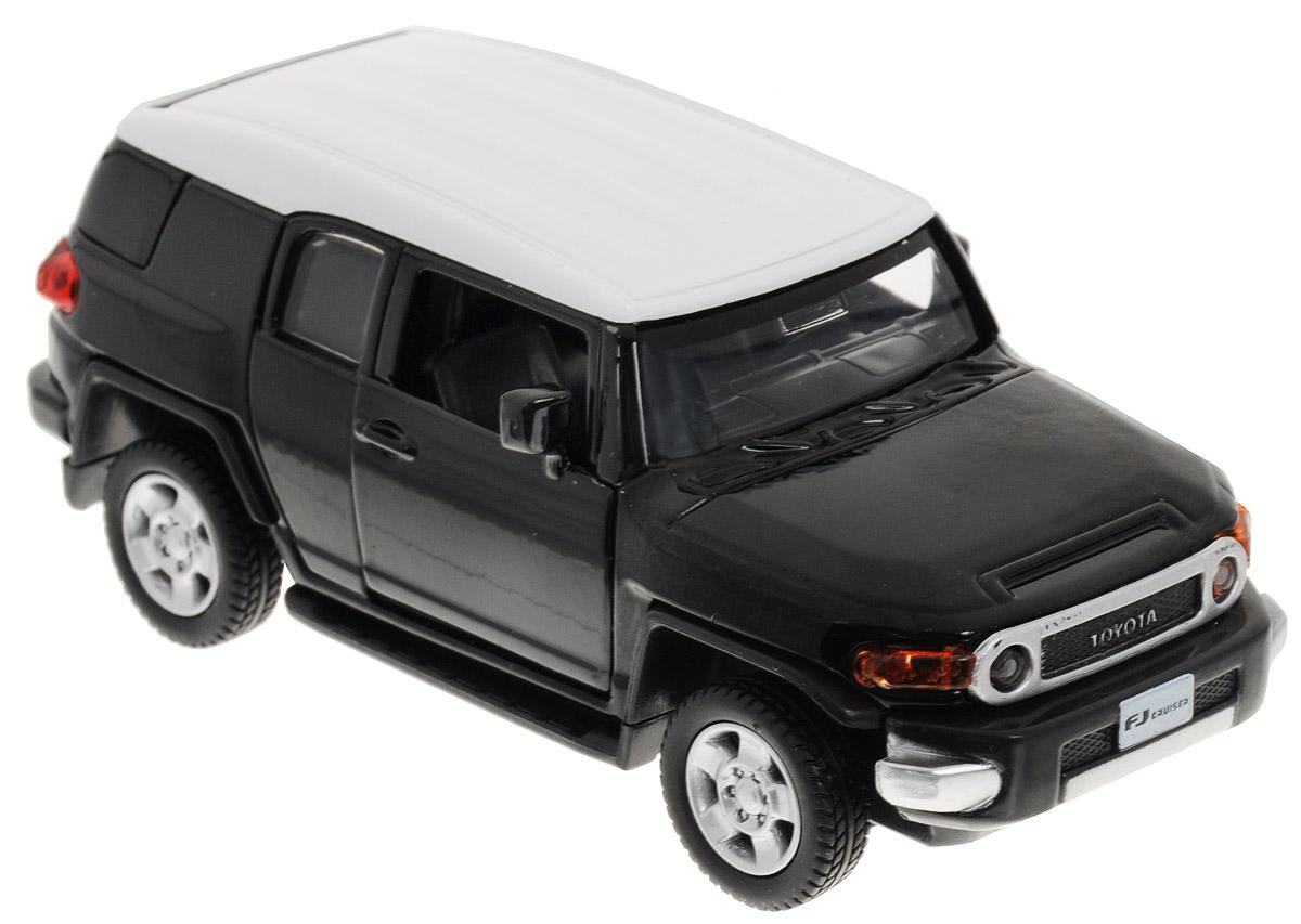 ТехноПарк Модель автомобиля Toyota FJ Cruiser цвет черный67312_черныйКоллекционная модель ТехноПарк Toyota FJ Cruiser выполнена в масштабе 1:43 и в точности воспроизводит все детали внешнего облика реального великолепного автомобиля, производимого знаменитой маркой Toyota. Модель изготовлена из металла с использованием пластика и оборудована открывающимися дверцами и инерционным ходом. Ее необходимо отвести назад, затем отпустить - и она быстро поедет вперед. Коллекционная модель Toyota FJ Cruiser будет отлично смотреться в качестве оригинального подарка не только любителю автомобилей, но и человеку, ценящему стиль и изысканность, а качество исполнения представит такой подарок в самом лучшем свете.