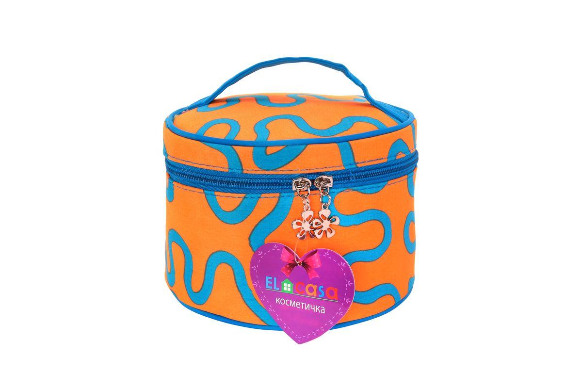 Органайзер для косметики El Casa Узоры, цвет: оранжевый, голубой, 17 х 17 х 11 см790107Стильный органайзер El Casa Узоры предназначен для хранения и транспортировки косметических средств, средств по уходу и других мелочей. Изделие выполнено из плотного полиэстера с ярким принтом. Закрывается органайзер на застежку-молнию. Сверху изделие оснащено удобной ручкой для переноски. Такой органайзер удобно брать с собой в путешествие. Органайзер для косметики El Casa Узоры станет незаменимым помощником в поездке и дома.