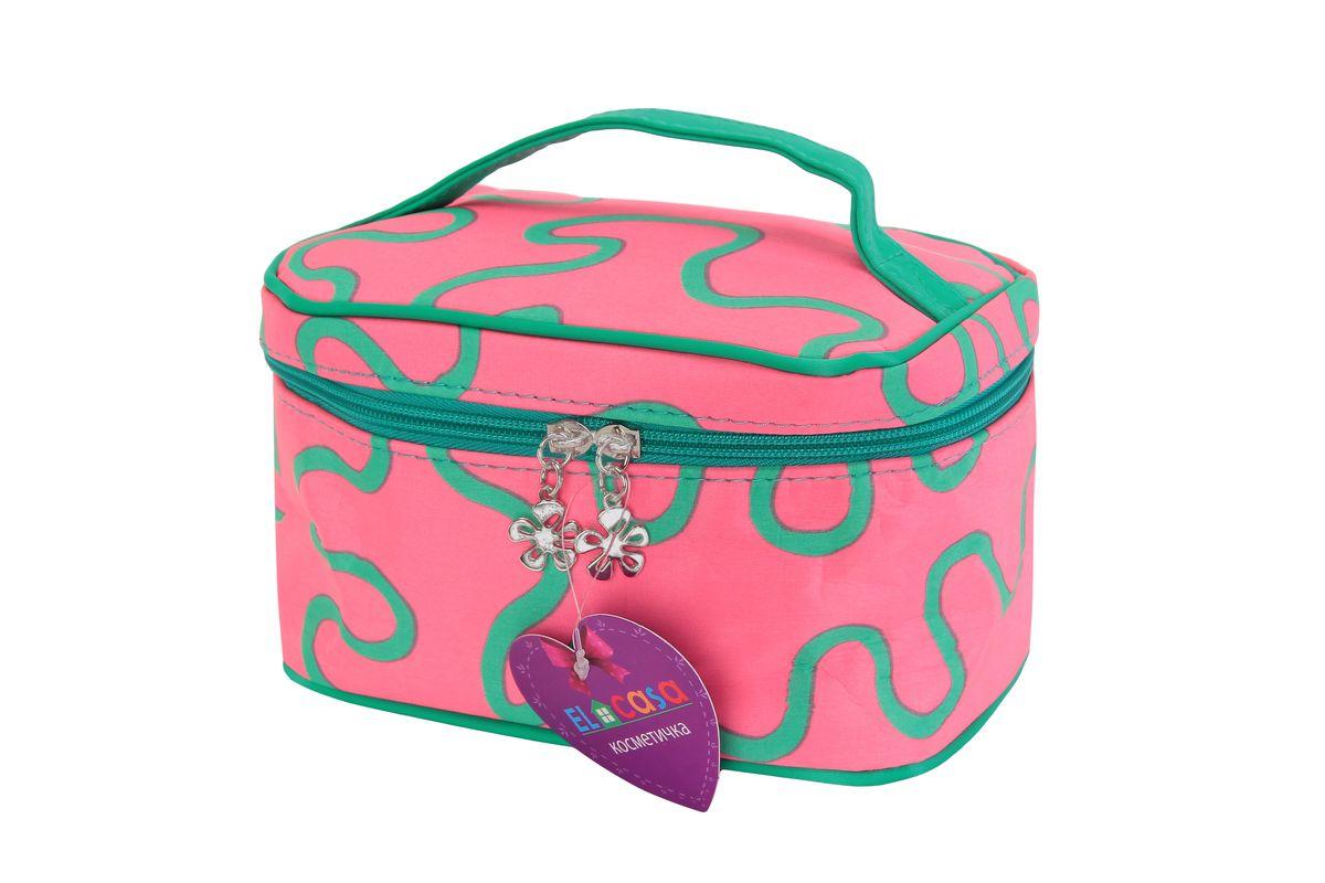Органайзер для косметики El Casa Узоры, цвет: розовый, зеленый, 19 х 13 х 12 см790010Стильный органайзер El Casa Узоры предназначен для хранения и транспортировки косметических средств, средств по уходу и других мелочей. Изделие, выполненное из плотного полиэстера, имеет оригинальный дизайн. Закрывается органайзер на застежку-молнию. Сверху изделие оснащено удобной ручкой для переноски. Такой органайзер удобно брать с собой в путешествие. Органайзер для косметики El Casa Узоры станет незаменимым помощником в поездке и дома.