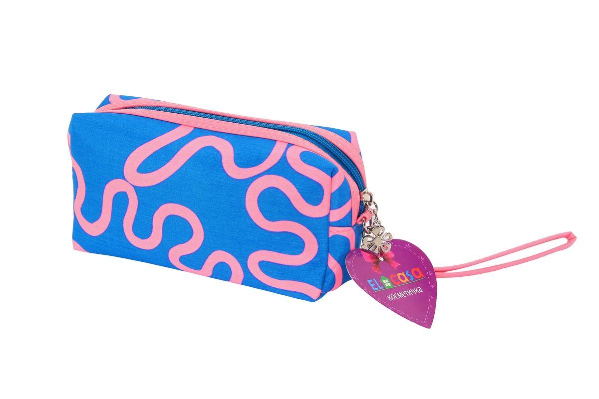 Органайзер для косметики El Casa Узоры, цвет: голубой, розовый, 19 х 7 х 10 см790032Органайзер для косметики El Casa Узоры изготовлен из плотного полиэстера с ярким абстрактным орнаментом. Изделие имеет одно отделение, закрывающееся на застежку-молнию с подвеской в виде цветочка. Аксессуар отличается небольшими размерами, поэтому вместится в любую женскую сумку. В такой косметичке можно хранить пудру, помаду, тушь, духи, тональный крем и пилочку. В комплекте - съемный ремешок для запястья. Аксессуар удобно брать с собой в путешествие, на вечеринку, в гости к друзьям и на прогулки.