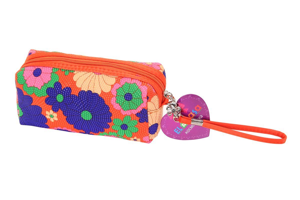 Органайзер для косметики El Casa Цветы, цвет: оранжевый, розовый, синий, 19 х 7 х 10 см790036Органайзер для косметики El Casa Цветы изготовлен из ПВХ с рельефной текстурой и красочным цветочным принтом. Изделие закрывается на застежку-молнию с подвеской в виде цветочка. Аксессуар отличается небольшими размерами, поэтому вместится в любую женскую сумку. В такой косметичке можно хранить пудру, помаду, тушь, духи, тональный крем и пилочку. В комплекте - съемный ремешок для запястья. Аксессуар удобно брать с собой в путешествие, на вечеринку, в гости к друзьям и на прогулки.