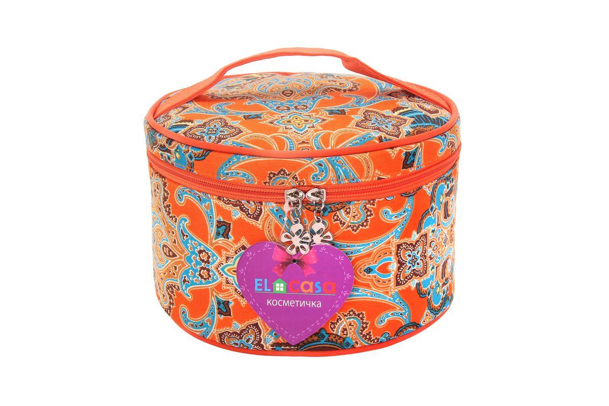 Органайзер для косметики El Casa Узоры, цвет: оранжевый, голубой, светло-коричневый, 20 х 20 х 13 см. 790117790117Стильный органайзер El Casa Узоры предназначен для хранения и транспортировки косметических средств, средств по уходу и других мелочей. Изделие выполнено из плотного полиэстера и оформлено оригинальным принтом. Закрывается органайзер на застежку-молнию. Сверху изделие оснащено удобной ручкой для переноски. Такой органайзер удобно брать с собой в путешествие. Органайзер для косметики El Casa Узоры станет незаменимым помощником в поездке и дома.