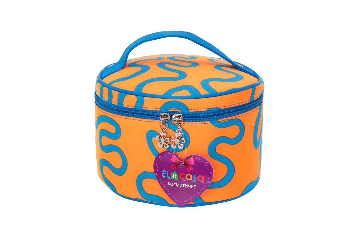 Органайзер для косметики El Casa Узоры, цвет: оранжевый, голубой, 20 х 20 х 13 см790118Стильный органайзер El Casa Узоры предназначен для хранения и транспортировки косметических средств, средств по уходу и других мелочей. Изделие выполнено из плотного полиэстера с ярким принтом. Закрывается органайзер на застежку-молнию. Сверху изделие оснащено удобной ручкой для переноски. Такой органайзер удобно брать с собой в путешествие. Органайзер для косметики El Casa Узоры станет незаменимым помощником в поездке и дома. ма.