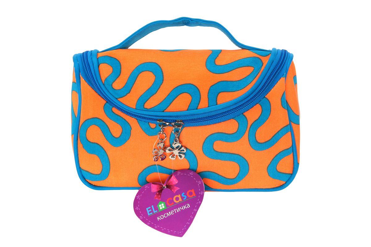 Органайзер для косметики El Casa Узоры, цвет: оранжевый, голубой, 20 х 9 х 13 см790079Стильный органайзер El Casa Узоры предназначен для хранения и транспортировки косметических средств, средств по уходу и других мелочей. Изделие, выполненное из плотного полиэстера, имеет оригинальный дизайн. Закрывается органайзер на застежку-молнию. Сверху изделие оснащено удобной ручкой для переноски. Такой органайзер удобно брать с собой в путешествие. Органайзер для косметики El Casa Узоры станет незаменимым помощником в поездке и дома.