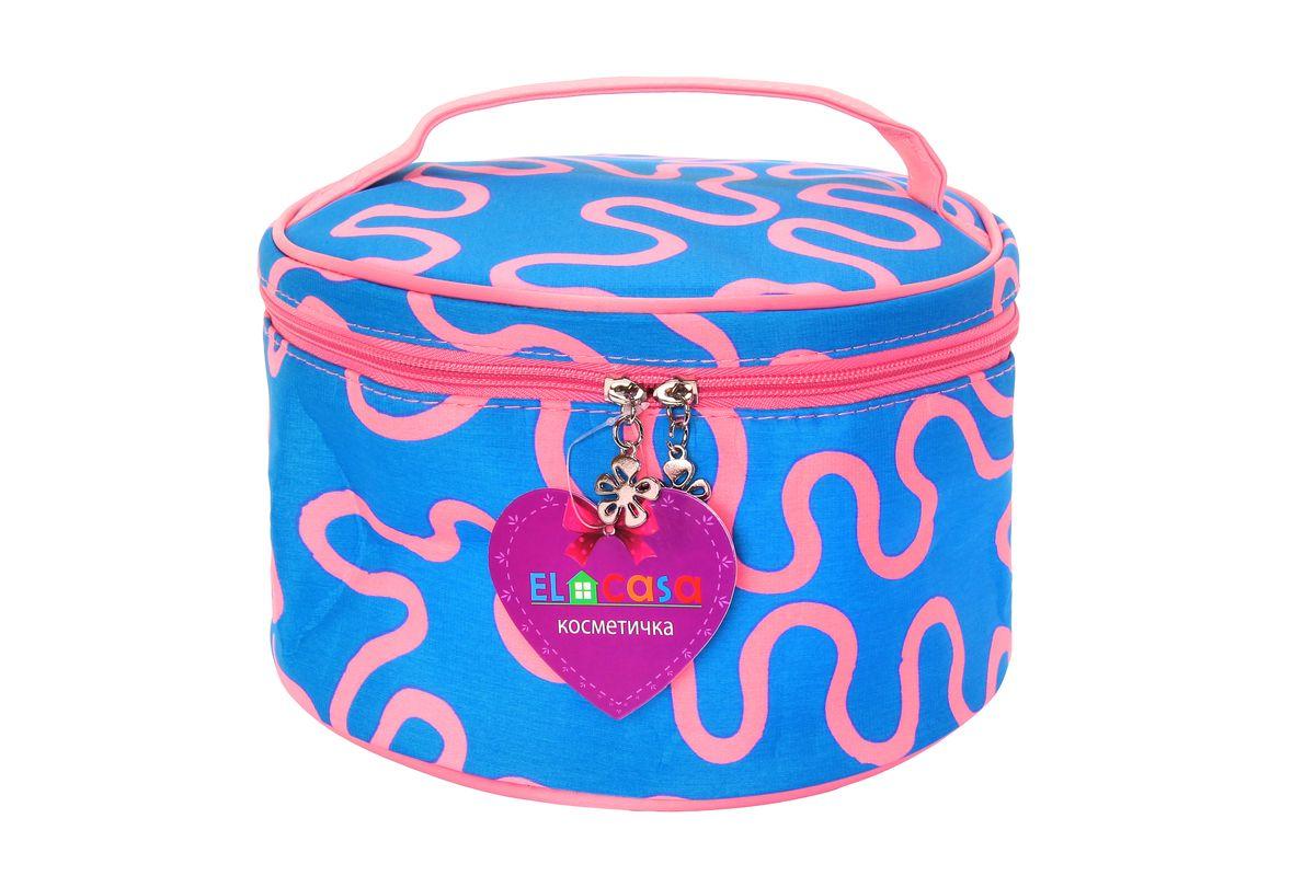 Органайзер для косметики El Casa Узоры, цвет: голубой, розовый, 23 х 23 х 14 см790098Стильный органайзер El Casa Узоры предназначен для хранения и транспортировки косметических средств, средств по уходу и других мелочей. Изделие выполнено из плотного полиэстера с ярким принтом. Закрывается органайзер на застежку-молнию с двумя бегунками. Сверху изделие оснащено удобной ручкой для переноски. Такой органайзер удобно брать с собой в путешествие. Органайзер для косметики El Casa Узоры станет незаменимым помощником в поездке и дома.