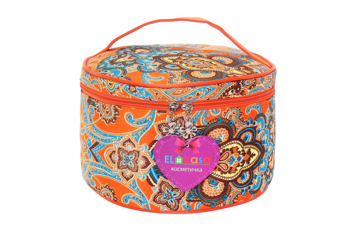 Органайзер для косметики El Casa Узоры, цвет: оранжевый, голубой, светло-коричневый, 23 х 23 х 14 см. 790099790099Стильный органайзер El Casa Узоры предназначен для хранения и транспортировки косметических средств, средств по уходу и других мелочей. Изделие выполнено из плотного полиэстера и оформлено оригинальным принтом. Закрывается органайзер на застежку-молнию. Сверху изделие оснащено удобной ручкой для переноски. Такой органайзер удобно брать с собой в путешествие. Органайзер для косметики El Casa Узоры станет незаменимым помощником в поездке и дома.