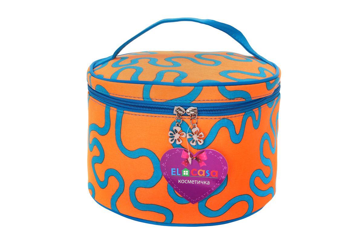 Органайзер для косметики El Casa Узоры, цвет: оранжевый, голубой, 23 х 23 х 14 см790100Стильный органайзер El Casa Узоры предназначен для хранения и транспортировки косметических средств, средств по уходу и других мелочей. Изделие выполнено из плотного полиэстера с ярким принтом. Закрывается органайзер на застежку-молнию с двумя бегунками. Сверху изделие оснащено удобной ручкой для переноски. Такой органайзер удобно брать с собой в путешествие. Органайзер для косметики El Casa Узоры станет незаменимым помощником в поездке и дома.