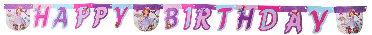 Procos Гирлянда-буквы Happy Birthday София1505-0747Procos Гирлянда-буквы Happy Birthday: София выполнена из картона и украшена яркими изображениями героев мультфильма София Прекрасная. Карточки скрепляются друг с другом с помощью подвижных металлических соединений. Крайние карточки имеют ниточные петли для удобства крепления гирлянды. Такая гирлянда украсит ваш праздник и подарит имениннице отличное настроение. Длина гирлянды: 190 см. Средний размер карточки: 16 см х 16 см.