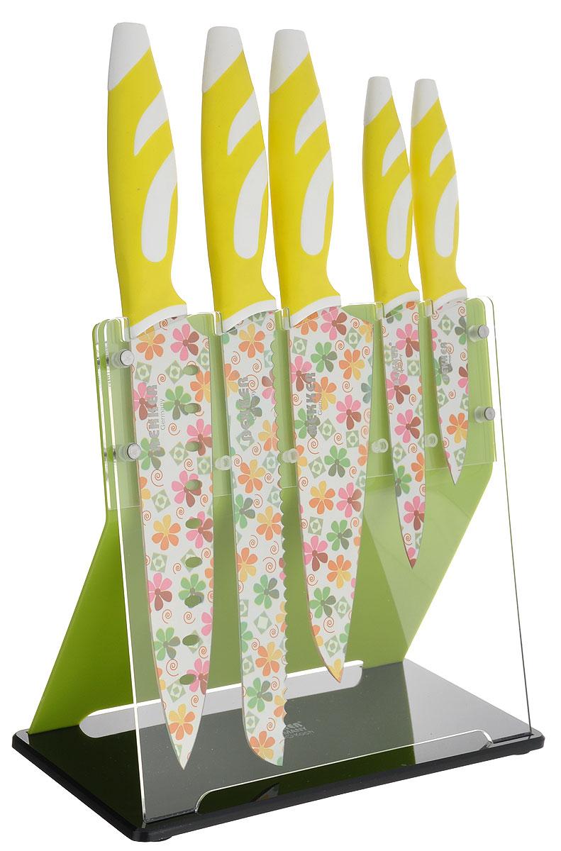 Набор ножей Bekker Koch, цвет: салатовый, белый, 6 предметов. BK-8445BK-8445_салатовый, белыйНабор Bekker Koch состоит из ножа для резки хлеба, универсального и поварского ножей, ножа Сантоку, ножа для очистки и подставки. Ножи изготовлены из высококачественной нержавеющей стали и декорированы цветочным принтом. Изделия идеально подходят для ежедневной резки фруктов, овощей и мяса. Рукоятка ножей и выполнена из высококачественного пластика, а благодаря специальному дизайну вам обеспечен комфортный и легко контролируемый хват. Рукоятка не скользит в руках и делает резку удобной и безопасной. В комплекте пластиковая подставка для хранения ножей. Общая длина ножа для резки хлеба: 33 см. Длина лезвия ножа для резки хлеба: 20 см. Общая длина ножа универсального: 23,5 см. Длина лезвия ножа универсального: 12 см. Общая длина ножа поварского: 32 см. Длина лезвия ножа поварского: 19 см. Общая длина ножа Сантоку: 30 см. Длина лезвия ножа Сантоку: 17 см. Общая длина ножа для очистки: 19 см. ...