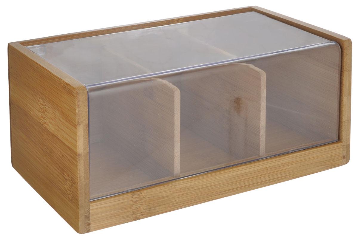 Ящик для хранения чая Oriental way, 22 х 11 х 9,5 смNL118909Ящик Oriental way, выполненный из бамбука, предназначен для хранения чая. В нем имеется три отделения. Ящик закрывается крышкой с прозрачной пластиковой вставкой, которая позволяет видеть содержимое. Ящик Oriental way займет достойное место на любой кухне и послужит украшением кухонного интерьера. Размер ящика: 22 см х 11 см х 9,5 см.