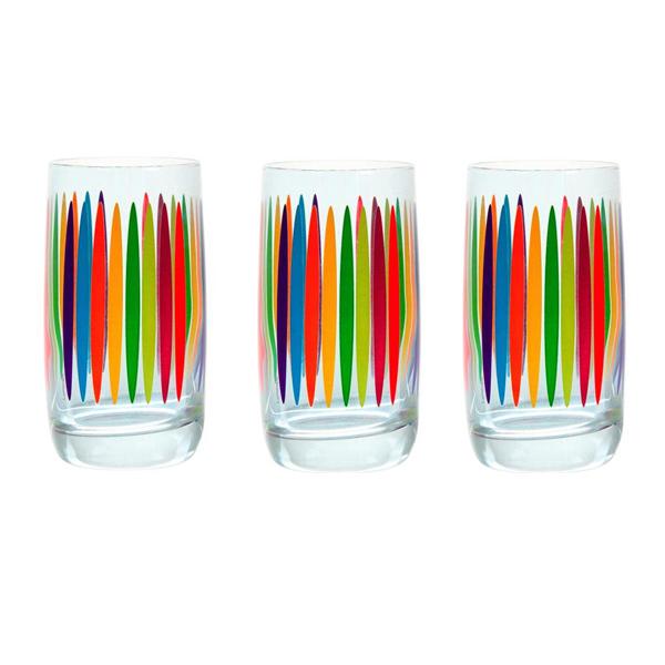 Набор стаканов Luminarc Fizz, 330 мл, 3 штH1247Набор Luminarc Fizz состоит из 3 высоких стаканов, выполненных из высококачественного стекла и украшенных разноцветными вертикальными полосками. Изделия имеют красочный дизайн, практичную форму и ослепительный блеск. Подходят для сока, воды, лимонада и других напитков. Такой набор станет прекрасным дополнением сервировки стола, он каждый день будет радовать вас и ваших близких. Можно мыть в посудомоечной машине. Диаметр стакана (по верхнему краю): 6,5 см. Высота стакана: 12,5 см.