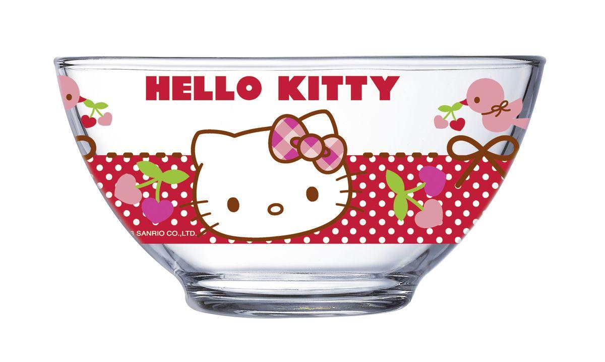 Салатник Luminarc Hello Kitty, 500 млJ0025Салатник Luminarc Hello Kitty, объемом 500 мл, порадует вашего ребенка. Идеален для сервировки легких летних салатов. Материал: ударопрочное стекло, устойчивое к резким перепадам температуры. Можно мыть в посудомоечной машине и использовать в СВЧ.