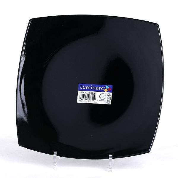 Тарелка Luminarc Quadrato, цвет: черный, 27 х 27 смJ0591Квадратная тарелка Luminarc Quadrato изготовлена из ударопрочного, закаленного стекла, способного выдерживать значительные перепады температуры. Она подойдет для сервировки вторых блюд, а также ее можно использовать, как блюдо для подачи закусок. На черной блестящей поверхности ваши любимые блюда будут смотреться по-особенному аппетитно и привлекательно. Тарелка не нуждается в особо бережном уходе, её можно мыть в посудомоечной машине и использовать в СВЧ. Размер тарелки: 25 х 25 см.