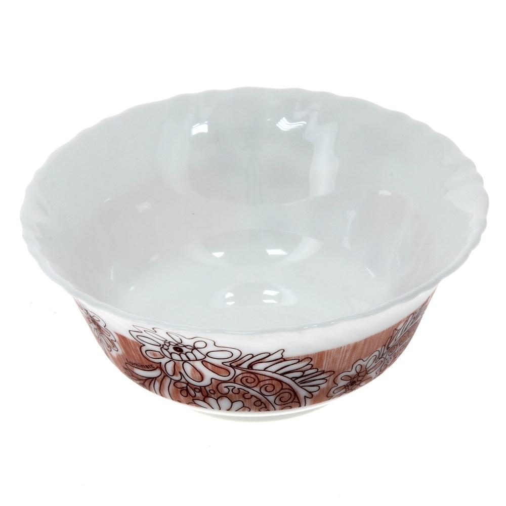 Салатник Luminarc Minelli, цвет: белый, коричневый, диаметр 12,5 смJ7038Салатник Luminarc Minelli, изготовленный из высококачественного стекла, прекрасно впишется в интерьер вашей кухни и станет достойным дополнением к кухонному инвентарю. Салатник оформлен ярким рисунком. Такой салатник не только украсит ваш кухонный стол и подчеркнет прекрасный вкус хозяйки, но и станет отличным подарком. Диаметр по верхнему краю: 12,5 см.
