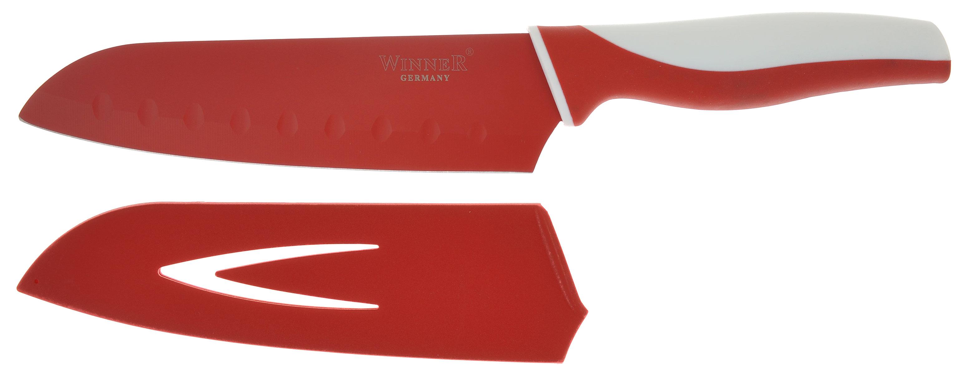 Нож поварской Winner, цвет: белый, красный, длина лезвия 17 смWR-7211_белый, красныйПоварской нож Winner выполнен из высококачественной нержавеющей стали с цветным полимерным покрытием Xynflon, предотвращающим прилипание продуктов. Очень удобная и эргономичная ручка выполнена из прорезиненного пластика с антибактериальным покрытием Zeomic. Нож используется для измельчения продуктов. Также применяется для отделения костей в птице или рыбе. Нож помогает поддерживать идеальную гигиену на кухне. Zeomic обеспечивает постоянную противомикробную защиту, позволят сохранить нож в чистоте в течение длительного периода времени после мытья, подавляет бактерии, которые способствуют появлению загрязнения и неприятного запаха, гнили и плесени в течение всего времени использования изделия. Поварской нож Winner предоставит вам все необходимые возможности в успешном приготовлении пищи и порадует вас своими результатами. К ножу прилагаются пластиковые ножны. Общая длина ножа: 29,5 см. Длина лезвия: 17...