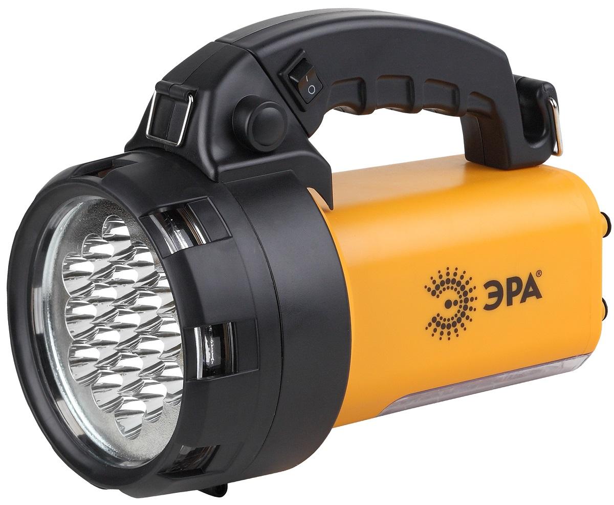 Фонарь ручной ЭРА FA65M, цвет: черный, желтыйFA65MАккумуляторный светодиодный фонарь: 19 белых LED + 24 LED Аккумулятор 6V 4.5Ah подзарядка от сети 220V и бортовой сети автомобиля 12V ремень для переноски на плече. 145 лм
