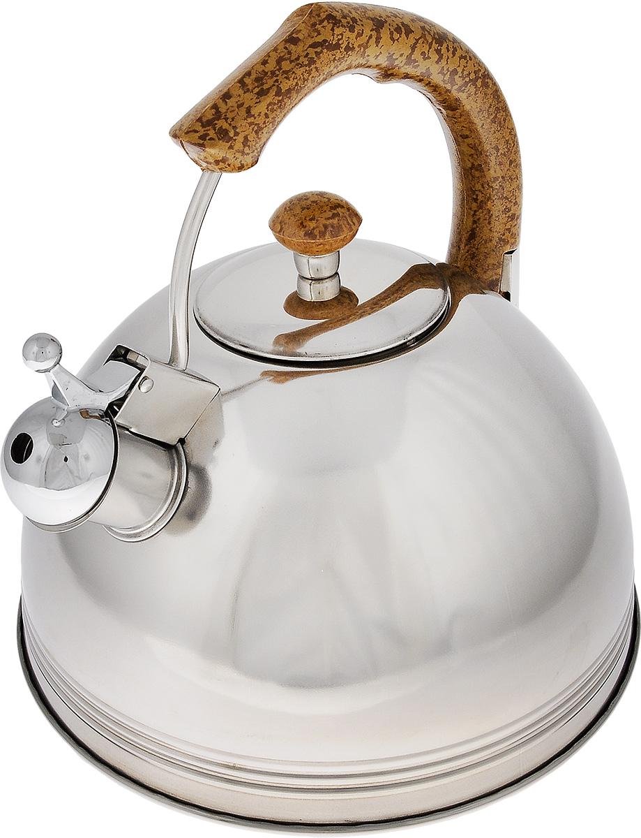 Чайник Mayer & Boch, со свистком, 3 л20436Чайник Mayer & Boch выполнен из высококачественной нержавеющей стали 18/10. Капсулированное дно с прослойкой из алюминия обеспечивает наилучшее распределение тепла. Носик чайника оснащен насадкой-свистком, что позволит вам контролировать процесс подогрева или кипячения воды. Бакелитовая ручка выполненная под дерево, она зафиксирована, что дает дополнительное удобство при разлитии напитка. Поверхность изделия гладкая, что облегчает уход, а блеск придает шикарный внешний вид. Эстетичный и функциональный, с эксклюзивным дизайном, чайник будет оригинально смотреться в любом интерьере. Подходит для использования на газовых, электрических, стеклокерамических и галогеновых плитах. Также можно мыть в посудомоечной машине. Высота чайника (без учета ручки и крышки):12,5 см. Высота чайника (с учетом ручки и крышки): 23,5 см. Диаметр основания: 22 см. Диаметр чайника (по верхнему краю): 8,5 см.