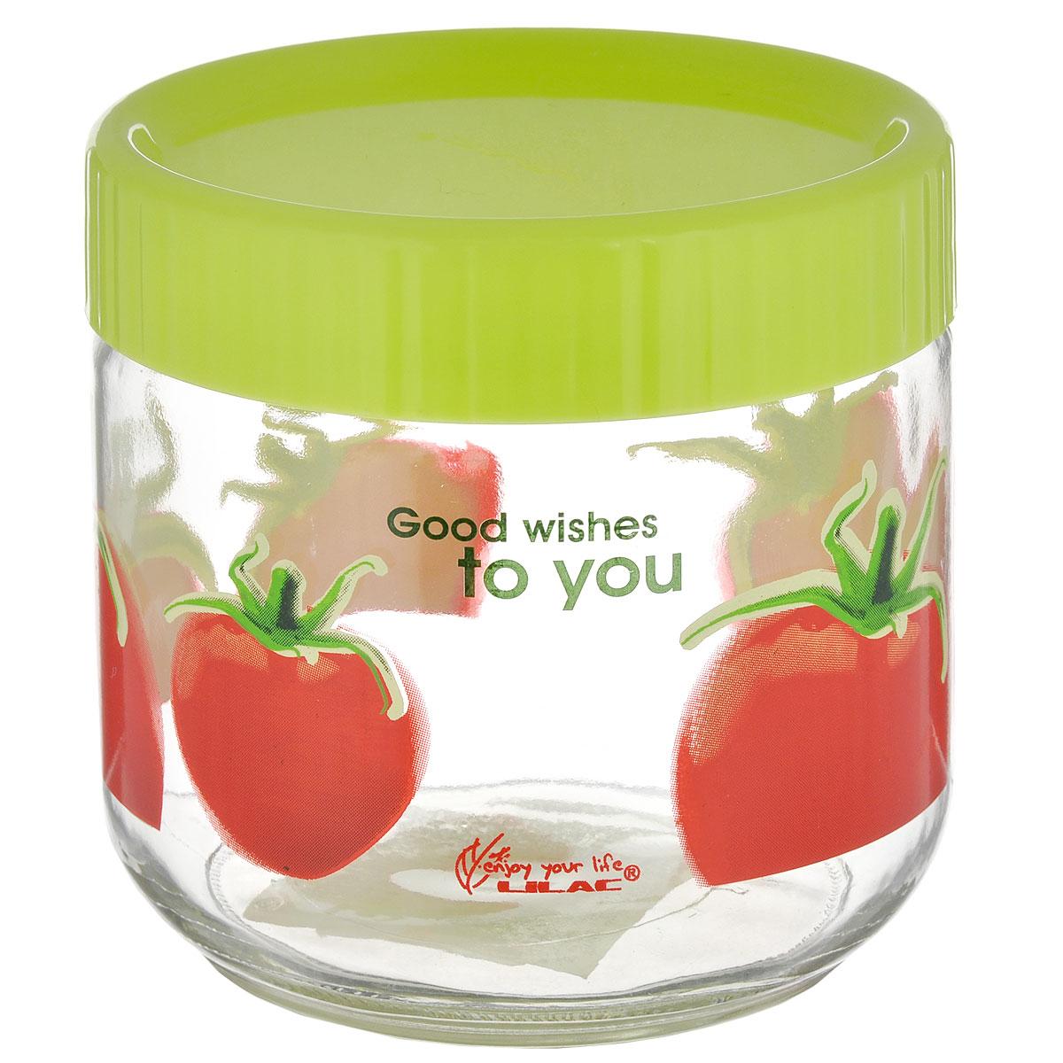 Банка для сыпучих продуктов Lilac Томат, цвет: прозрачный, салатовый, 750 млLLSE7750_салатовый/помидорБанка для сыпучих продуктов Lilac изготовлена из прочного стекла и декорирована красочным рисунком. Банка оснащена плотно закрывающейся пластиковой крышкой. Благодаря этому внутри сохраняется герметичность, и продукты дольше остаются свежими. Изделие предназначено для хранения различных сыпучих продуктов: круп, чая, сахара, орехов и многого другого. Функциональная и вместительная, такая банка станет незаменимым аксессуаром на любой кухне. Не рекомендуется мыть в посудомоечной машине. Диаметр (по верхнему краю): 9,5 см. Высота банки (без учета крышки): 10,5 см.