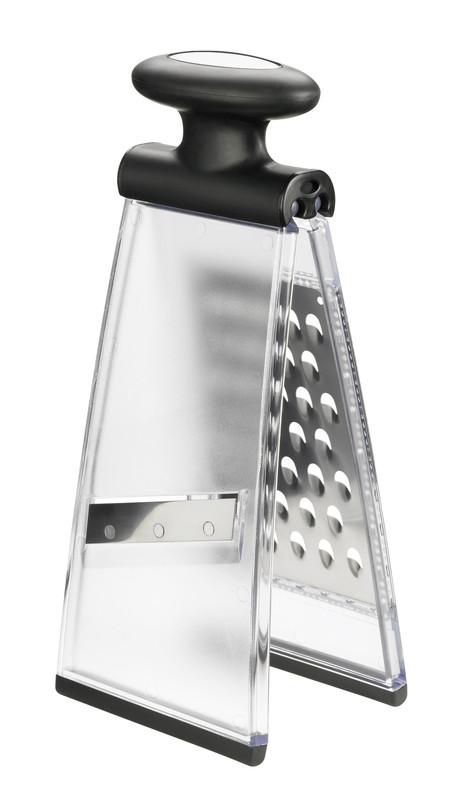 Терка Lurch, двусторонняяя, высота 26 см. 220160220160Раскладывающаяся двухсторонняя терка Lurch выполнена из нержавеющей стали и пластика. Она предназначена для различных продуктов, ее очень удобно мыть и хранить. Сверху на терке находится пластиковая ручка эргономичной формы. Всего 2 вида лезвий: крупная терка и шинковка. Нескользящий силиконовый пластик на основании предотвращает скольжение во время использования и защищает поверхность от повреждений. Порадуйте себя и своих близких качественным и функциональным подарком. Каждая хозяйка оценит все преимущества этой терки. Очень практичный и современный дизайн делает изделие весьма простым в эксплуатации. Высота терки: 26 см. Размер рабочей поверхности: 9 см х 13,5 см.