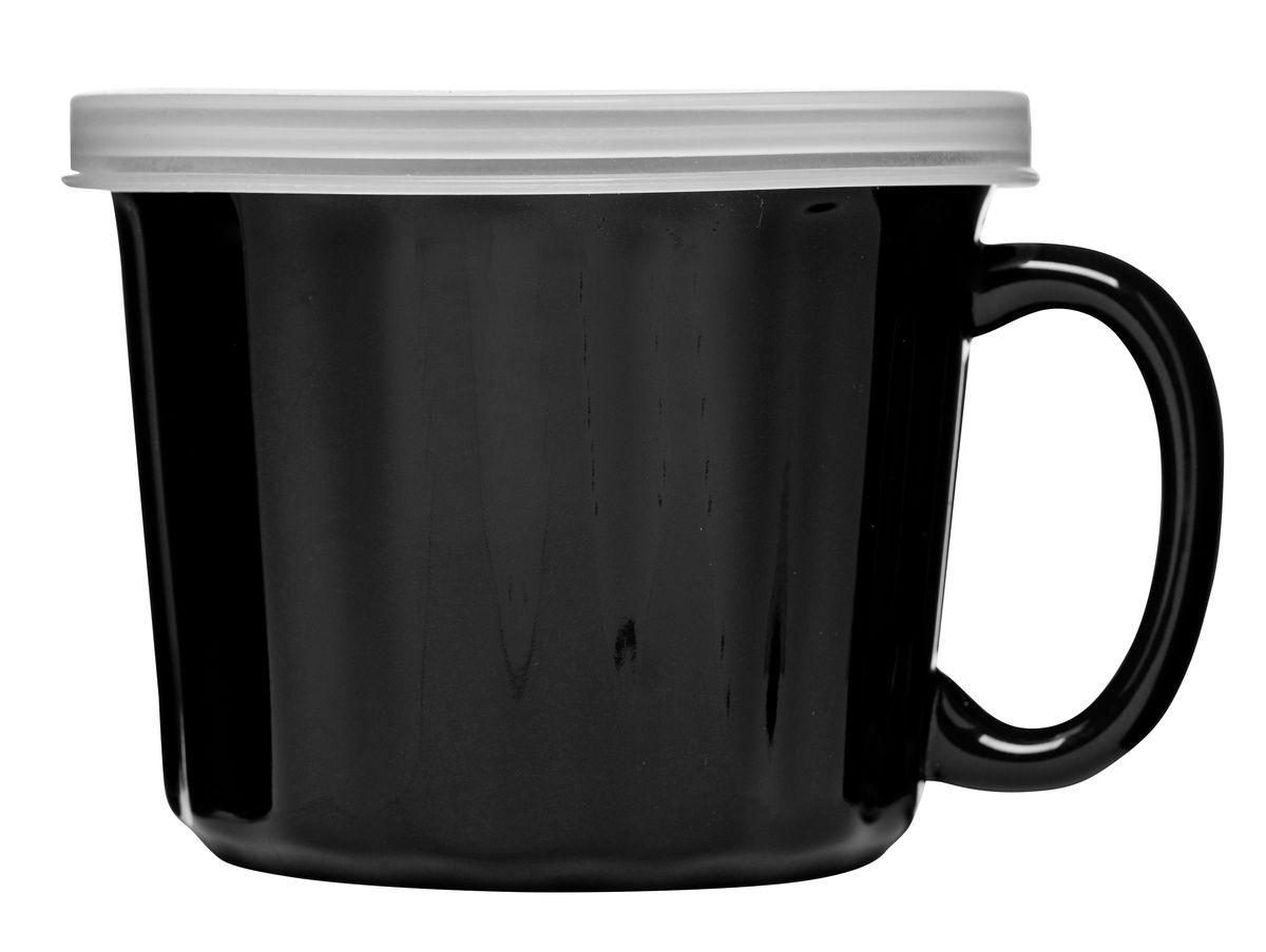 Кружка для супа с крышкой, черная. 50173065017306Постоянно в пути? Негде перекусить? Тогда кружка для супа с крышкой создана специально для вас! Она выполнена из керамики, а крышка – из пластика. Вас поразят качество исполнения и высокая герметичность. В каком бы положении ни оказалась кружка, суп не прольется и не испачкает салон авто или сумку. Удобная ручка защищает руки от действия температуры. Вы не обожжетесь, даже если суп только что снят с плиты. Наслаждайтесь жизнью всегда. Ну а своевременный прием пищи – это одна из частичек удовольствия!