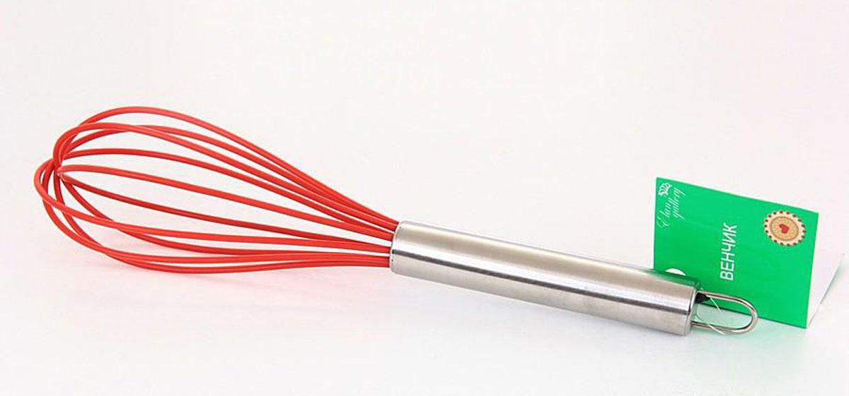 Венчик для взбивания силиконовый 25 см. красный, упаковка - картонный хедер590186Яркий и удобный венчик для взбивания предназначен для приготовления теста, соусов, крема.