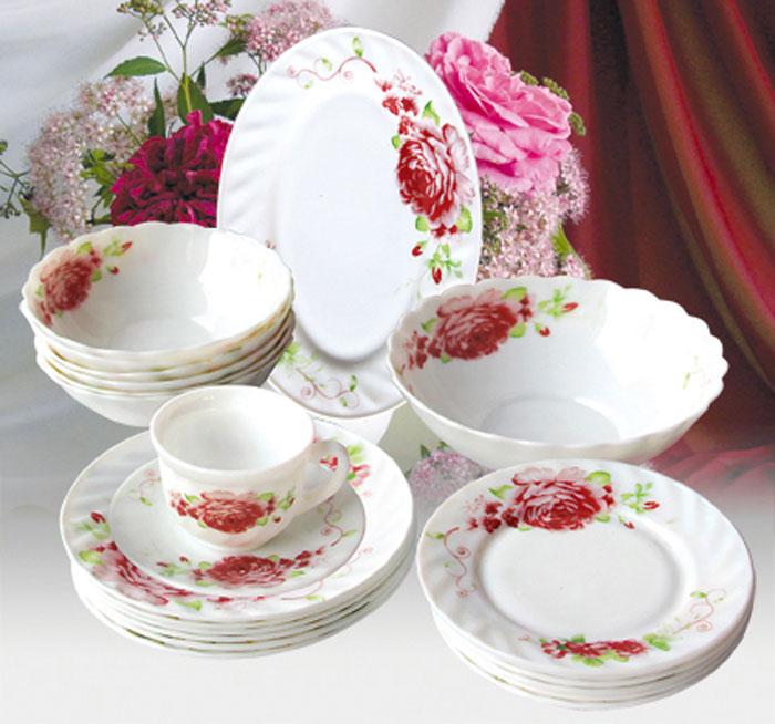 Набор столовой посуды Huimeida Римини, 32 предметаW-32I/6643Набор Huimeida Римини состоит из 6 обеденных тарелок, 6 десертных тарелок, 6 суповых тарелок, 6 чашек, 6 блюдец, салатника и овального блюда. Изделия выполнены из высококачественной стеклокерамики и оформлен изящным цветочным рисунком. Посуда отличается прочностью, гигиеничностью и долгим сроком службы, она устойчива к появлению царапин и резким перепадам температур. Такой набор прекрасно подойдет как для повседневного использования, так и для праздников. Набор столовой посуды Huimeida Римини - это не только яркий и полезный подарок для родных и близких, а также великолепное дизайнерское решение для вашей кухни или столовой. Можно мыть в посудомоечной машине и использовать в микроволновой печи. Диаметр обеденной тарелки (по верхнему краю): 20 см. Высота обеденной тарелки: 2 см. Диаметр десертной тарелки (по верхнему краю): 17,5 см. Высота десертной тарелки: 1,7 см. Диаметр суповой тарелки...