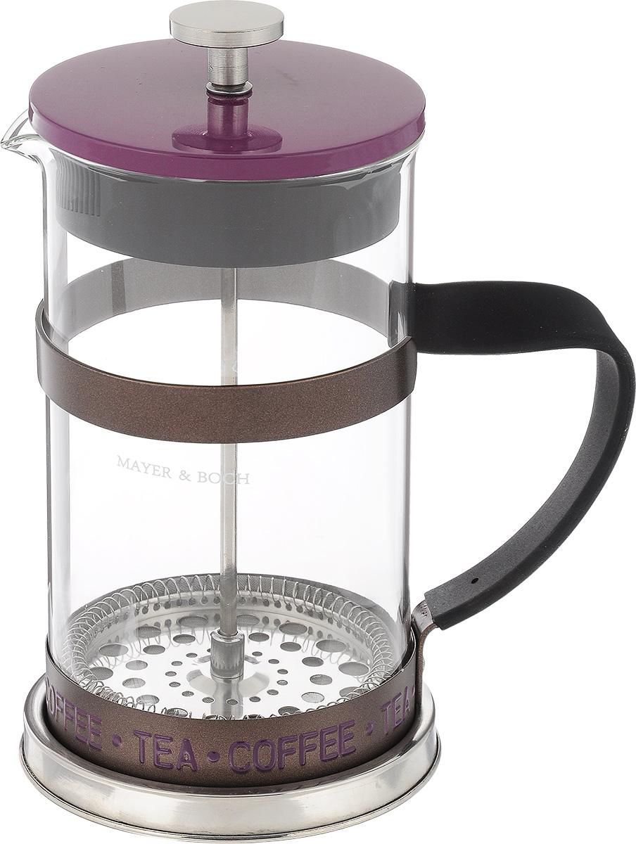 Френч-пресс Mayer & Boch, цвет: прозрачный, фиолетовый, 1 л24915Френч-пресс Mayer & Boch изготовлен из высококачественной нержавеющей стали и жаропрочного стекла. Фильтр-поршень выполнен по технологии press-up и оснащен ситечком для обеспечения равномерной циркуляции воды. Засыпая чайную заварку или кофе под фильтр, заливая горячей водой, вы получаете ароматный напиток с оптимальной крепостью и насыщенностью. Остановить процесс заваривания легко, для этого нужно просто опустить поршень, и все уйдет вниз, оставляя вверху напиток, готовый к употреблению. Кофейник оснащен эргономичной прорезиненной ручкой, она обеспечит безопасный и удобный хват. Такой френч-пресс Mayer & Boch позволит быстро и просто приготовить свежий и ароматный кофе или чай. Можно мыть в посудомоечной машине. Не использовать в микроволновой печи. Диаметр колбы (по верхнему краю): 9,5 см. Высота френч-пресса (без учета крышки): 18,5 см. Высота френч-пресса (с учетом крышки): 21,5 см. Объем френч-пресса:...