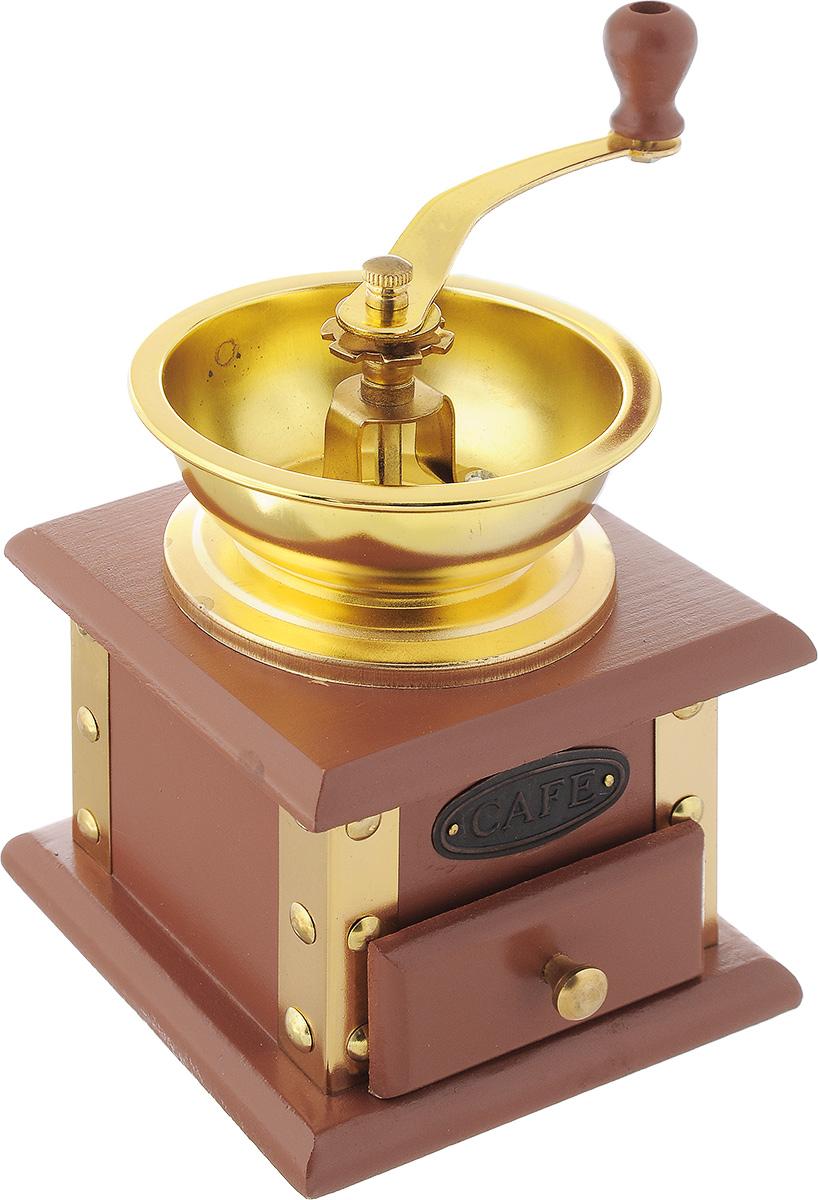 Кофемолка ручная Mayer & Boch. 23162316Ручная кофемолка Mayer & Boch, выполненная из дерева и украшенная металлическими вставками, сочетает в себе эстетичность и функциональность. Она оснащена выдвижным деревянным ящиком для молотого кофе, металлической воронкой и удобной элегантной ручкой для помола. Изделие снабжено внутренним механизмом. Вы сможете регулировать степень помола от мелкого до крупного. Такая кофемолка станет незаменимым помощником на вашей кухне. Высота кофемолки: 16 см. Размер основания кофемолки: 11 см х 11 см.