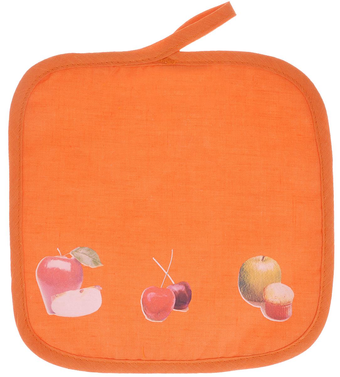 Прихватка Едим дома, цвет: оранжевый, 20 см х 20 см2014-144Прихватка Едим дома, выполненная из хлопка и полиэстера, станет украшением любой кухни. Изделие защитит ваши руки от ожогов и воздействия высоких температур, а интересный дизайн разнообразит интерьер вашей кухни. С помощью специальной петельки, прихватку можно вешать на крючок. Отличный вариант для практичной и современной хозяйки.