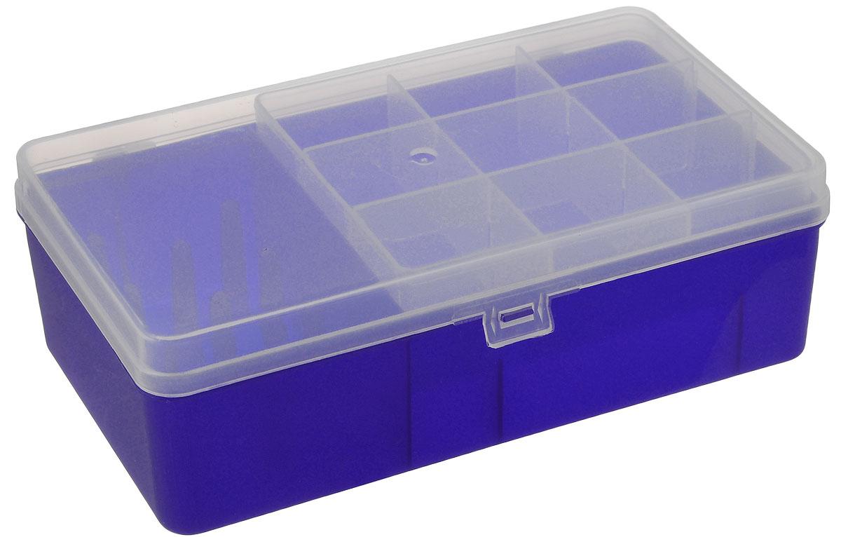 Коробка для мелочей Trivol, двухъярусная, цвет: синий, прозрачный, 21,2 х 12,2 х 6,7 см581914_синий, прозрачныйКоробка Trivol, изготовленная из высококачественного пластика, оснащена двухъярусным отделением. Верхний ярус представляет собой съемное отделение, в котором содержится 9 ячеек. Нижний ярус выполнен в виде отделения прямоугольной формы и оснащен 1 ячейкой для различных мелочей и 1 одной ячейкой для катушек. Прозрачная крышка позволяет видеть содержимое коробки, которая прекрасно подойдет для хранения швейных принадлежностей, рыболовных снастей, мелких деталей и других бытовых мелочей. Удобный и надежный замок-защелка обеспечивает надежное закрывание крышки. Коробка легко моется и чистится. Такая коробка поможет держать вещи в порядке. Размер нижнего яруса: 20,5 см х 11 см х 5,5 см. Размер верхнего яруса: 13,5 см х 10,5 см х 4 см. Размер большой ячейки: 13,5 см х 10,5 см х 5,5 см. Размер малой ячейки: 3,3 см х 4,2 см х 4 см.