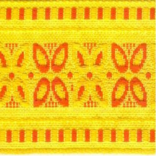 Тесьма жаккардовая Астра, цвет: желтый, красный, 3 х 1640 см7703333_5/62Декоративная тесьма Астра идеально подойдет для оформления различных творческих работ таких, как скрапбукинг, аппликация, декор коробок и открыток и многого другого. Тесьма наивысшего качества и практична в использовании. Она станет незаменимым элементом в создании рукотворного шедевра. Ширина: 3 см. Длина: 16,4 м.