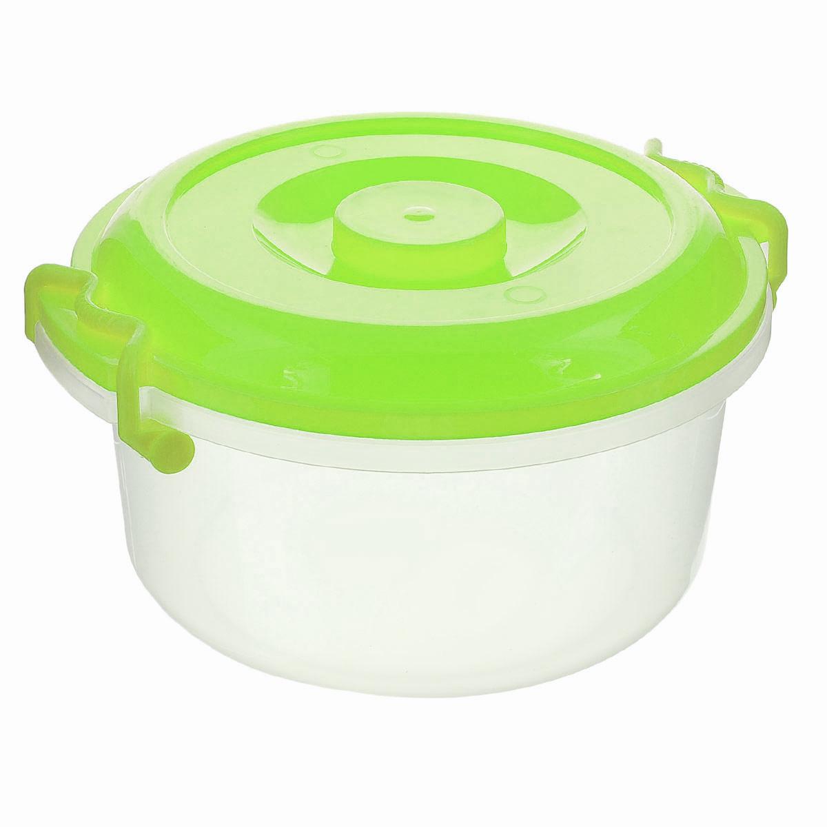 Контейнер Альтернатива, цвет: прозрачный, зеленый, 5 лM097_зеленыйКонтейнер Альтернатива изготовлен из высококачественного пищевого пластика. Изделие оснащено крышкой и ручками, которые плотно закрывают контейнер. Также на крышке имеется ручка для удобной переноски. Емкость предназначена для хранения различных бытовых вещей и продуктов. Такой контейнер очень функционален и всегда пригодится на кухне. Диаметр контейнера (по верхнему краю): 25 см. Высота стенок: 13,5 см. Объем: 5 л.