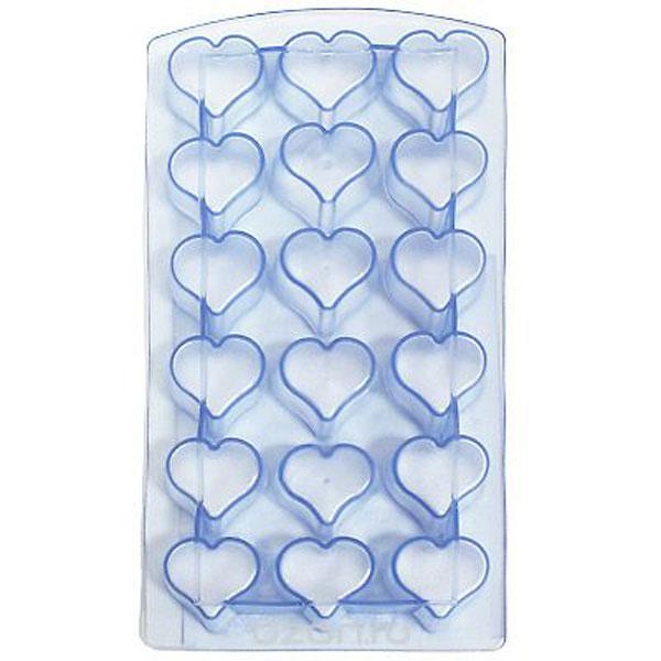 Форма для льда Metaltex Сердце, цвет: синий, 18 ячеек