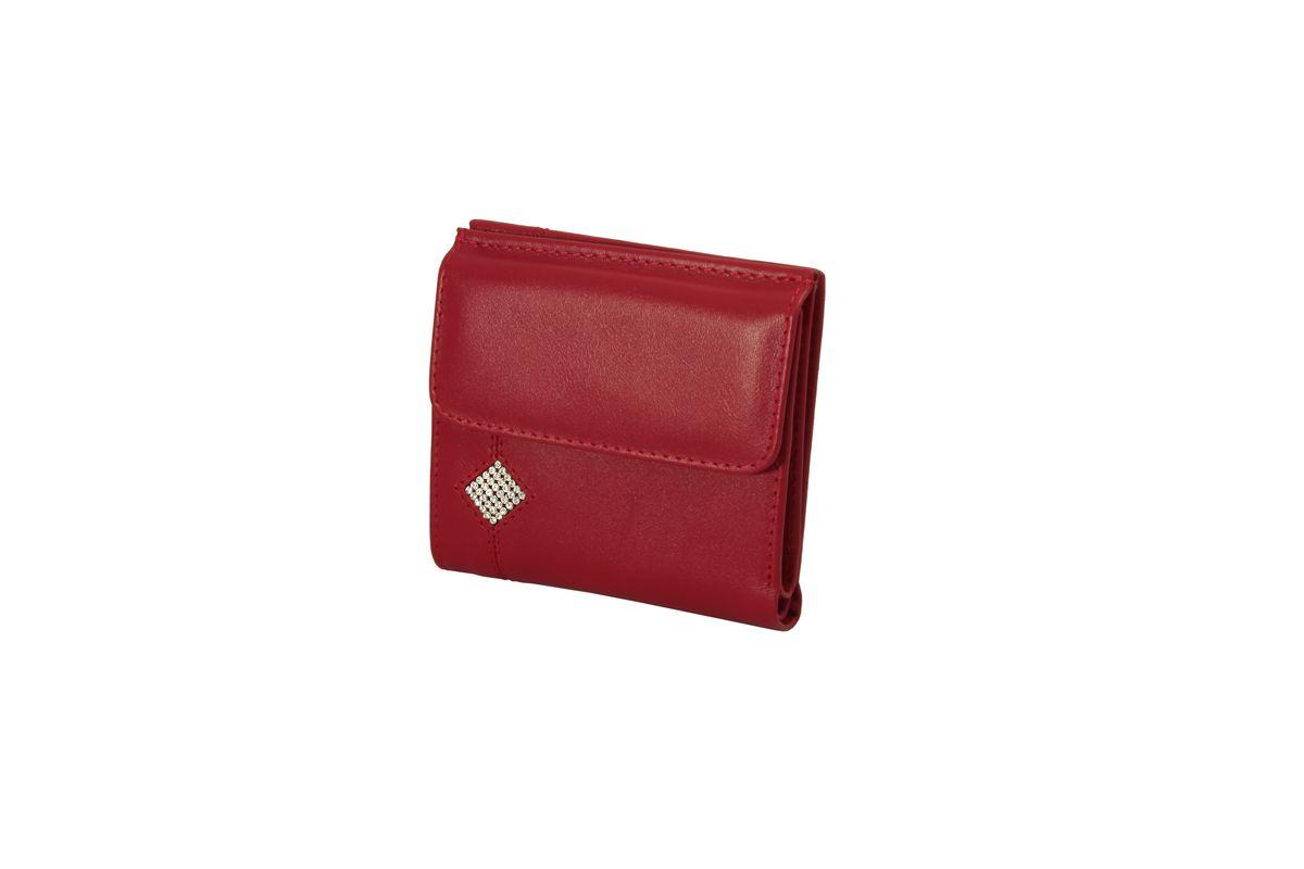 Кошелек женский Dimanche Рубин, цвет: красный. 013013Стильный женский кошелек Dimanche Рубин выполнен из натуральной кожи и оформлен стразами. Внутри находятся три отделения для купюр, одно из которых на застежке-молнии, два боковых кармана, два прорезных кармашка для визиток и пластиковых карт, прорезной карман для sim-карты и карман с прозрачным окошком. Закрывается изделие на кнопку. Снаружи, на передней стенке располагается отделение для мелочи, которое закрывается на клапан с кнопкой и внутри которого находится накладной открытый кармашек. Изделие упаковано в фирменную коробку. Стильный кошелек Dimanche Рубин станет отличным подарком для человека, ценящего качественные и практичные вещи.