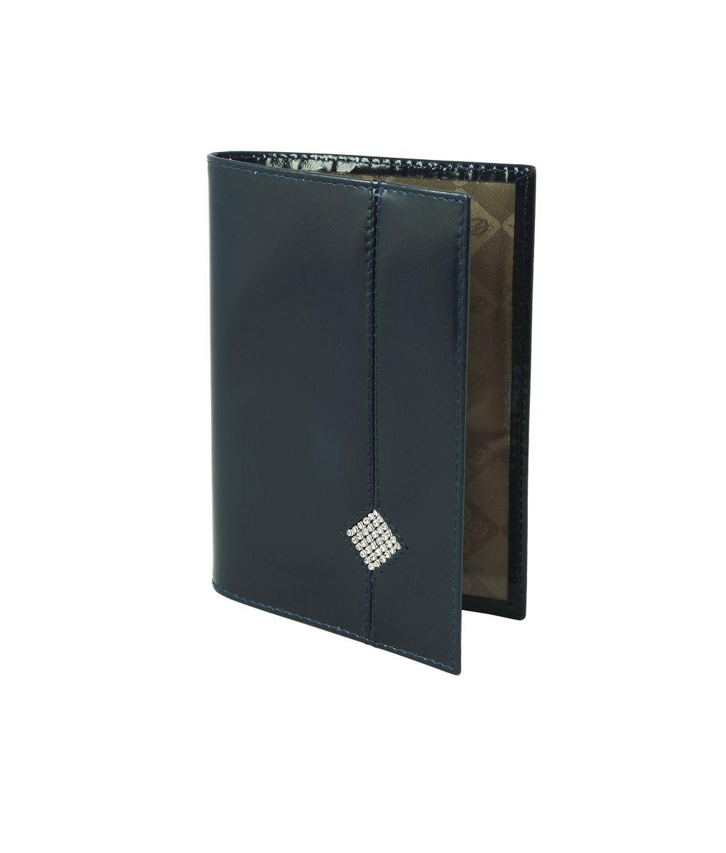 Обложка для паспорта женская Dimanche Сапфир, цвет: темно-синий. 160160Стильная обложка для паспорта Dimanche Сапфир выполнена из натуральной кожи и оформлена стразами. На внутреннем развороте имеются два кармана из прозрачного пластика. Обложка не только поможет сохранить внешний вид ваших документов и защитить их от повреждений, но и станет стильным аксессуаром, идеально подходящим вашему образу. Обложка для паспорта стильного дизайна может быть достойным и оригинальным подарком.