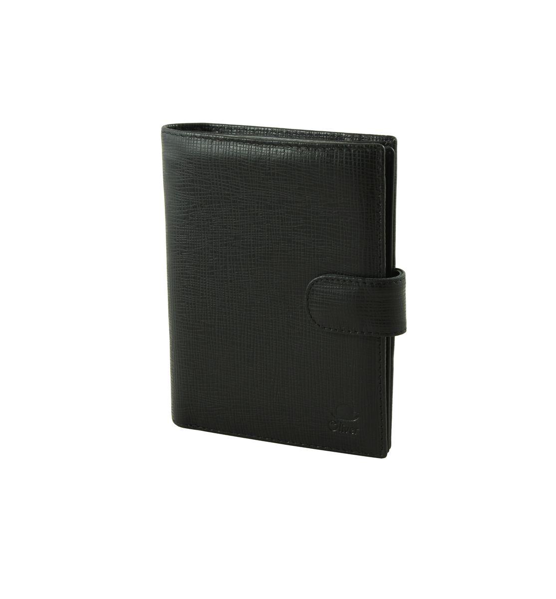 Портмоне мужское Dimanche Oliver, цвет: черный. 235235Стильное мужское портмоне Dimanche Oliver выполнено из натуральной кожи с фактурным тиснением. Закрывается изделие на хлястик с кнопкой. Внутри имеются три отделения для купюр, одно из которых на застежке-молнии, два боковых кармана, двенадцать кармашков для визиток и пластиковых карт, один из которых с прозрачным окошком, прорезной карман для sim-карты, блок из прозрачного пластика с пятью файлами и отделение для паспорта с двумя прозрачными карманами. Изделие упаковано в фирменную коробку. Стильное портмоне Dimanche Oliver станет отличным подарком для человека, ценящего качественные и практичные вещи.