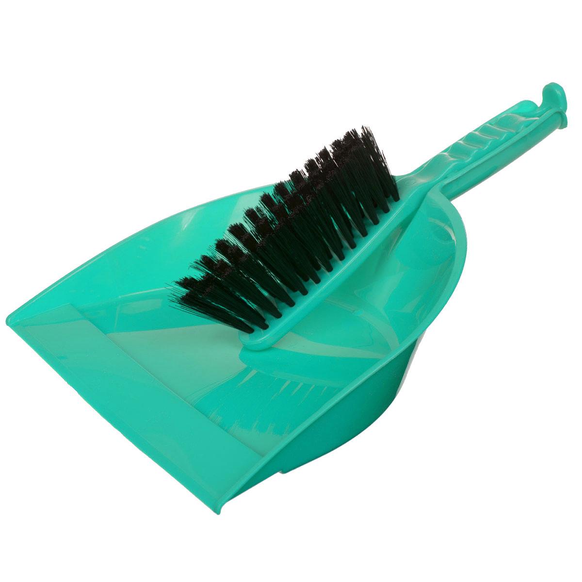 Набор для уборки Альтернатива, цвет: мятный, 2 предметаM893_мятныйНабор для уборки Альтернатива состоит из щетки-сметки и совка. Он станет незаменимым помощником в деле удаления пыли и мусора с различных поверхностей. Эластичный ворс на щетке, изготовленный из полимера, не оставит от грязи и следа. В комплекте вместительный совок углубленной формы, выполненный из прочного пластика. Удобная форма совка с бордюром, который удерживает собранный мусор, позволит эффективно и быстро совершить уборку в любом помещении. Ручка совка позволяет прикреплять его к рукоятке щетки. На рукояти изделий имеется специальное отверстие для подвешивания. Длина щетки-сметки: 27 см. Длина ворса: 5 см. Размер рабочей поверхности совка: 23,5 см х 23,5 см. Размер совка (с учетом ручки): 33,5 см х 23,5 см х 6 см.