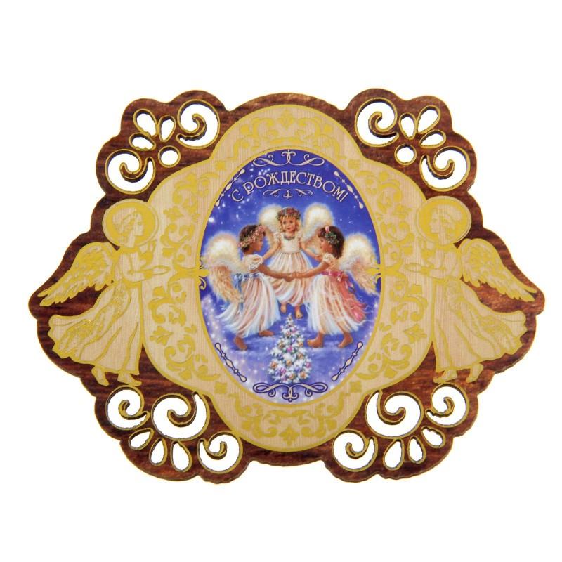 """Магнит Sima-land """"С Рождеством. Ангелы"""", 8,2 х 6,1 см"""