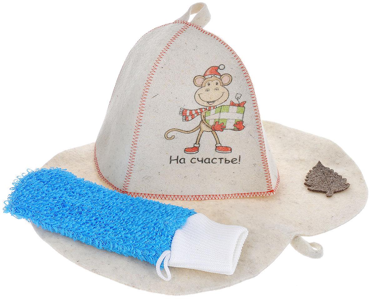 Набор подарочный для бани и сауны Главбаня Обезьянка с подарком, цвет: бежевый, ярко-голубой, 3 предметаА350_бежевый, ярко-голубойПодарочный набор для бани и сауны Главбаня Обезьянка с подарком состоит из шапки, мочалки и коврика. Шапка, изготовленная из шерсти, декорирована красочным изображением и надписью На счастье!. Благодаря сетчатой мочалке из полиэстера вам обеспечено много пены. Коврик для сидения, выполненный из шерсти, имеет форму яблока и декорирован объемной фигуркой в виде листочка. Такой набор поможет с удовольствием и пользой провести время в бане, а также станет чудесным подарком друзьям и знакомым, которые по достоинству оценят его при первом же использовании. Уважаемые клиенты! Обращаем ваше внимание, что вид декоративного элемента может отличаться от представленного на фото. Поставка осуществляется в зависимости от наличия на складе. Размер коврика: 44 см х 32 см. Обхват головы: 66 см. Высота шапки: 25 см. Размер мочалки: 25 см х 11 см.