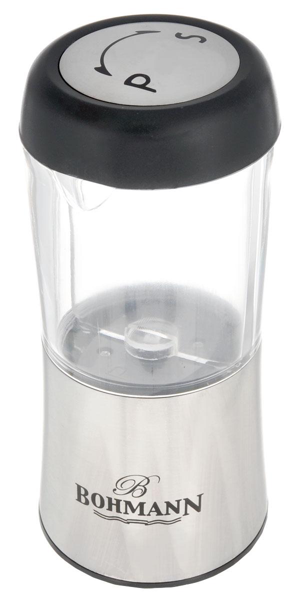 Емкость для соли и перца Bohmann. 7802BH7802BHЕмкость для соли и перца Bohmann с функцией помола пригодится на любой кухне. Изделие выполнено из матовой нержавеющей стали и снабжено стеклянной емкостью. Емкость двойная, что позволяет хранить внутри как соль, так и перец. Прибор предназначен для крупной соли и перца горошком. Керамический механизм помола мелко измельчает специи, при повороте налево измельчается соль, а направо - перец. Размер помола можно изменять. Емкость для соли и перца Bohmann станет прекрасным украшением стола и поможет вам в приготовлении ваших любимых блюд. Нельзя мыть в посудомоечной машине.