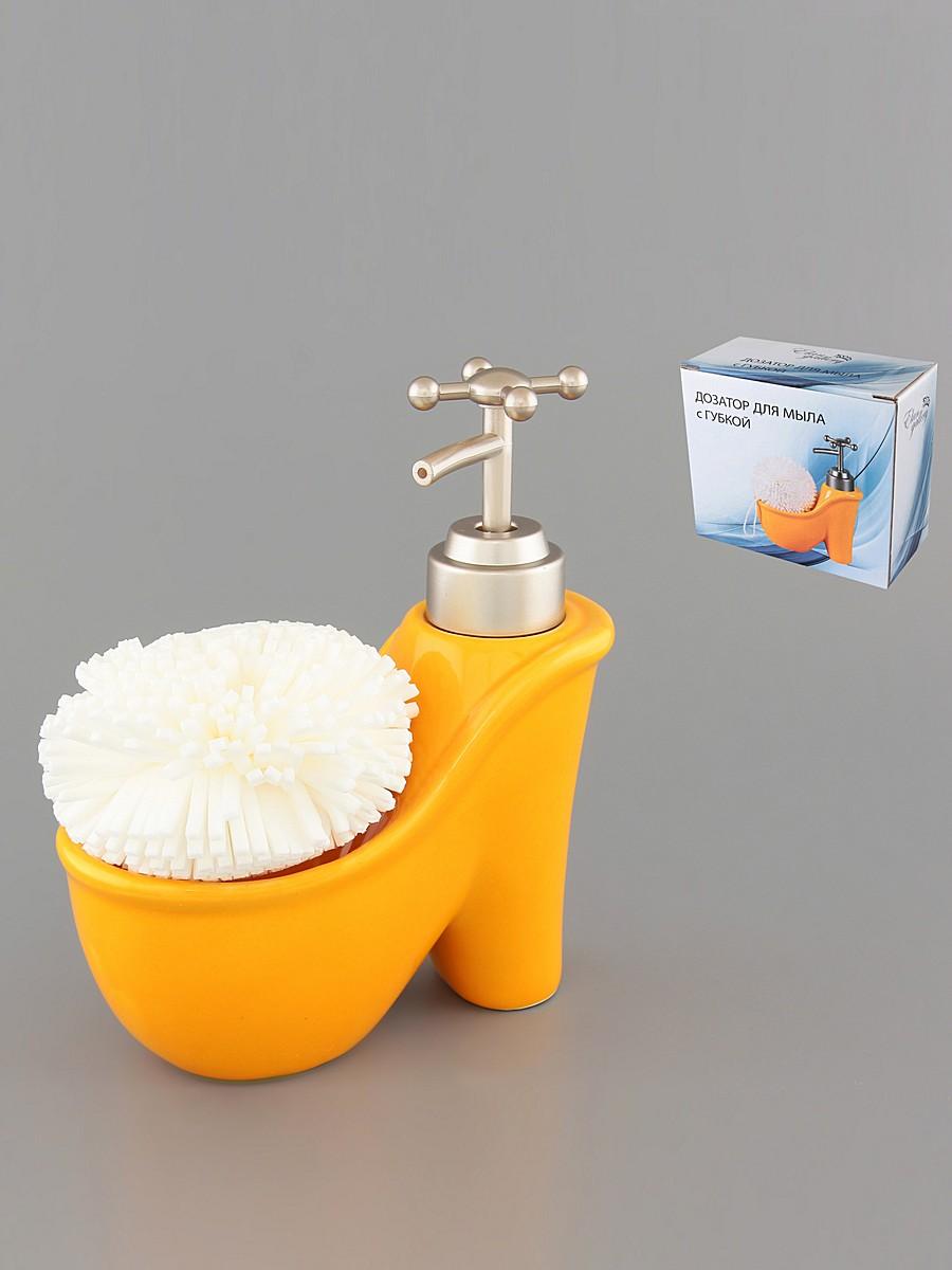 Диспенсер Elan Gallery Туфелька, с губкой, цвет: оранжевый, 250 мл880003Диспенсер Elan Gallery Туфелька изготовлен из высококачественной глазурованной керамики. Изделие имеет необычную оригинальную форму в виде женской туфельки. Диспенсер снабжен дозатором, выполненным из пластика под хром. Дозатором очень удобно и просто пользоваться: просто нажмите на него и выдавите необходимое количество средства. Диспенсер подходит для жидкого мыла, моющего средства, различных лосьонов. В комплекте предусмотрена губка. Такой диспенсер стильно дополнит интерьер кухни или ванной комнаты и станет замечательным приобретением для любой хозяйки. Позволяет экономно расходовать мыло. Диаметр губки: 8 см. Размер диспенсера: 14 см х 7 см х 16 см.