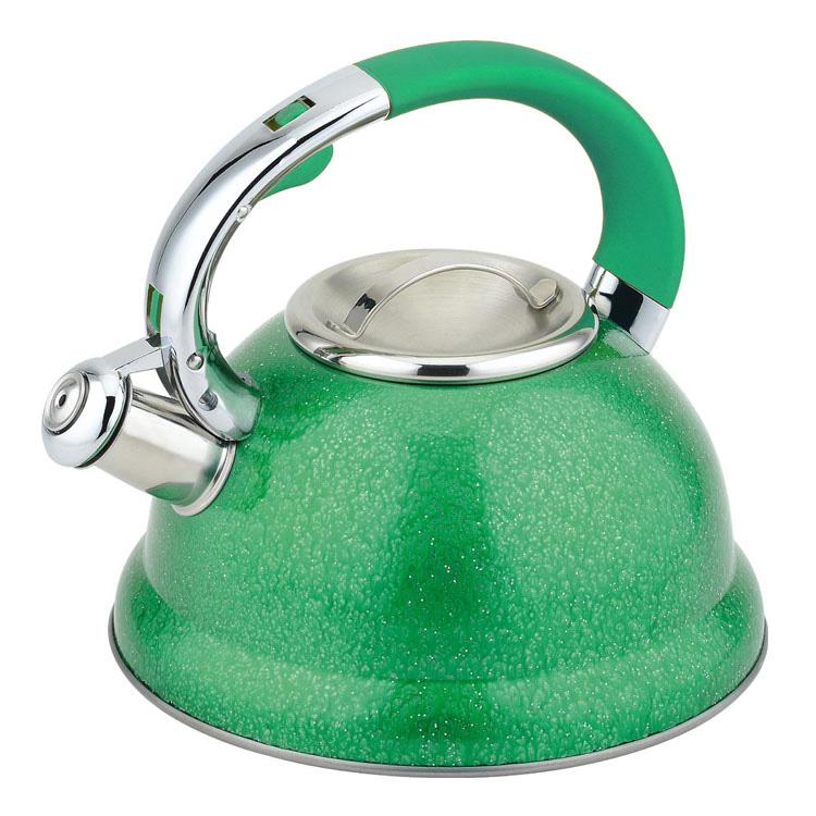 Чайник Mayer & Boch, со свистком, цвет: зеленый, 2,5 л23209Чайник со свистком Mayer & Boch изготовлен из высококачественной нержавеющей стали, что обеспечивает долговечность использования. Носик чайника оснащен откидным свистком, звуковой сигнал которого подскажет, когда закипит вода. Свисток открывается нажатием кнопки на ручке. Эргономичная нейлоновая ручка имеет покрытие soft-touch. Чайник Mayer & Boch - качественное исполнение и стильное решение для вашей кухни. Подходит для всех типов плит, включая индукционные. Можно мыть в посудомоечной машине. Высота чайника (без учета ручки и крышки): 12,5 см. Высота чайника (с учетом ручки и крышки): 23 см. Диаметр чайника (по верхнему краю): 10 см. Диаметр основания: 22 см. Диаметр индукционного дна: 18 см.