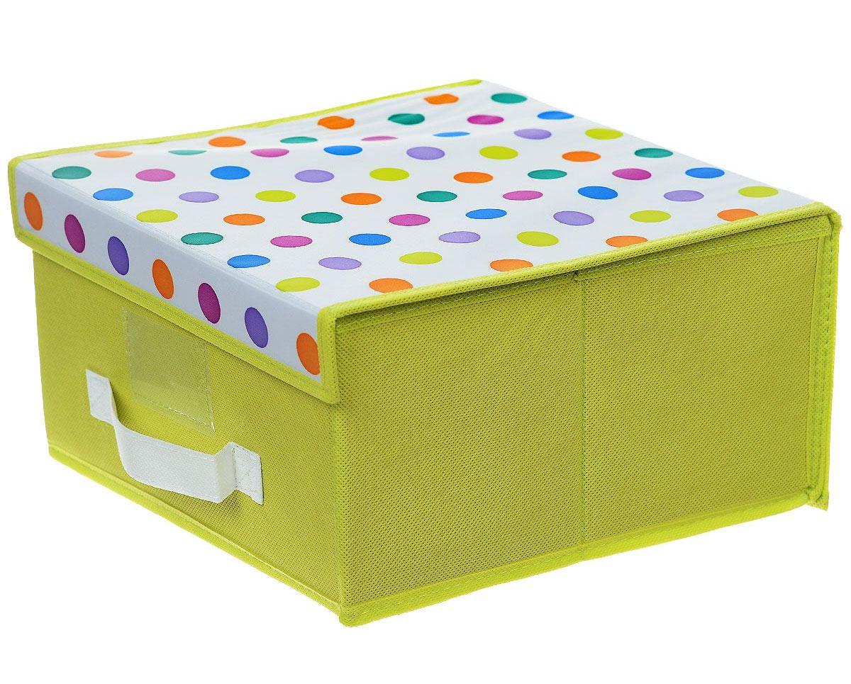 Чехол-коробка Voila Кидс, цвет: салатовый, белый, 30 х 40 х 25 смCOVLSCBY12K_ салатовый, белыйЧехол-коробка Voila Кидс поможет легко и красиво организовать пространство в детской комнате. Изделие выполнено из полиэстера и нетканого материала, прочность каркаса обеспечивается наличием внутри плотных и толстых листов картона. Чехол-коробка закрывается крышкой на две липучки, что поможет защитить вещи от пыли и грязи. Сбоку имеется ручка. Такой чехол идеально подойдет для хранения игрушек и детских вещей. Яркий дизайн изделия привлечет внимание ребенка и вызовет у него желание самостоятельно убирать игрушки. Складная конструкция обеспечивает компактное хранение.