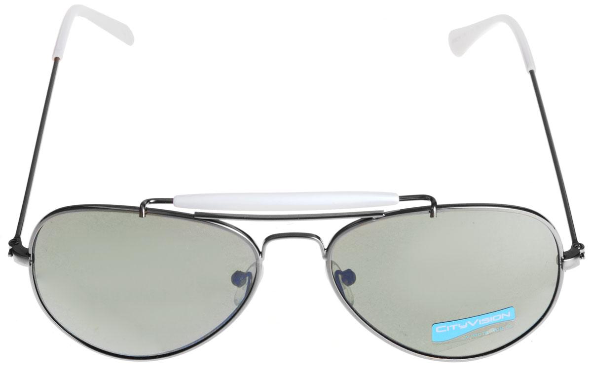Солнцезащитные очки унисекс City Vision, цвет: черный. 015219015219Модные и стильные солнцезащитные очки со 100% защитой от ультрафиолетового излучения, выполненные с линзами из высококачественного пластика, подчеркнут вашу индивидуальность и сделают ваш образ завершенным. Используемый пластик не искажает изображение, не подвержен нагреванию и вредному воздействию солнечных лучей. Металлическая оправа очков легкая, прилегающей формы и поэтому не создает никакого дискомфорта. На дужках и переносице очки дополнены декоративными вставками из пластика контрастного цвета. Очки пригодны для использования в нормальных условиях , без чрезмерной нагрузки. Не допускается класть линзы очков на грубые поверхности. Не допускается оставлять очки на прямом солнечном свете при высоких температурах (например, на панели автомобиля). Использовать только оригинальные аксессуары и запасные части. Условия хранения: в футляре при нормальных климатических условиях. Чистка и обслуживание: Для чистки изделия следует...