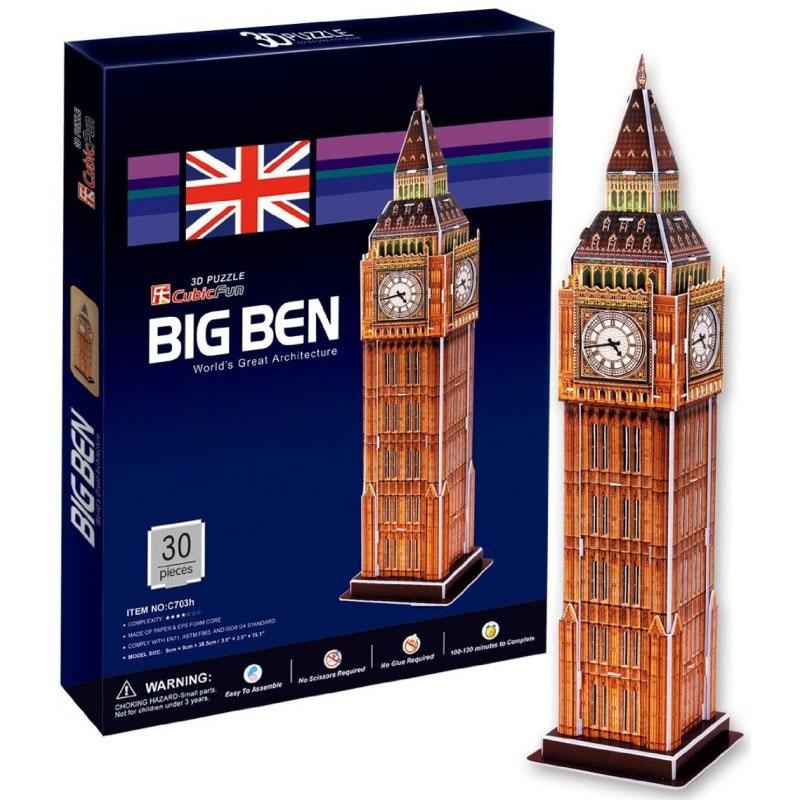 CubicFun Биг Бен, 30 элементовC703hБиг Бен - уникальный конструктор-макет, с которым можно играть как дома, так и на улице. Составные элементы конструктора красочны и достаточно большие для того, чтобы даже маленькому ребенку было удобно и комфортно в него играть. Достаточно просто соединить элементы конструктора, и Вы получите объемную модель здания Биг Бена. Биг-Бен - колокольная башня в Лондоне, часть архитектурного комплекса Вестминстерского дворца. Официальное наименование - Часовая башня Вестминстерского дворца, также ее называют Башней Св. Стефана. Собственно Биг-Бен - само здание и часы вместе с колоколом. Название башни возникло от названия 13-тонного колокола, установленного внутри нее. Башня была возведена в 1858 году, башенные часы были пущены в ход 21 мая 1859 года. Высота башни 61 метр (не считая шпиля); часы располагаются на высоте 55 м от земли. При диаметре циферблата в 7 метров и длиной стрелок в 2,7 и 4,2 метра, часы долгое время считались самыми большими в мире. Биг-Бен стал...