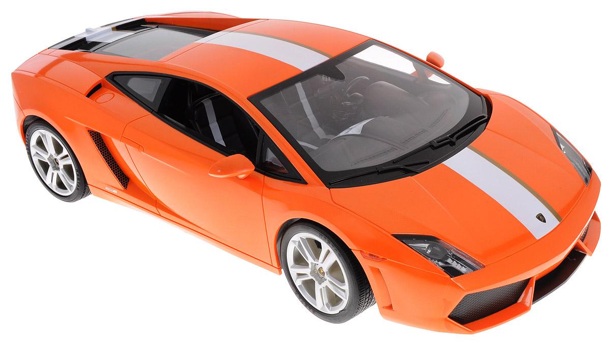 Rastar Радиоуправляемая модель Lamborghini Gallardo LP550-2 цвет оранжевый52500Радиоуправляемая модель Rastar Lamborghini Gallardo LP550-2, выполненная из прочного пластика с металлическими элементами, является точной уменьшенной копией настоящего автомобиля в масштабе 1:10. Модель привлечет внимание не только ребенка, но и взрослого. Машина при помощи пульта управления движется вперед, дает задний ход, поворачивает влево и вправо, останавливается. Автомобиль обладает высокой стабильностью движения, что позволяет полностью контролировать его процесс, управляя уверенно и без суеты. Модель оснащена световыми эффектами. Такая модель автомобиля станет отличным подарком не только автолюбителю, но и человеку, ценящему оригинальность и изысканность, а качество исполнения представит такой подарок в самом лучшем свете. Машина работает от сменного аккумулятора (входит в комплект), пульт управления работает от батарейки 9V типа Крона (не входит в комплект).