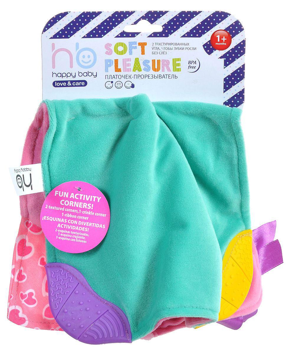 Happy Baby Платочек-прорезыватель цвет розовый бирюзовый330057_розовый, бирюзовыйПлаточек-прорезыватель Happy Baby из мягкой ткани, который поможет успокоить плачущего малыша. Мягкий впитывающий платок сшит из двух кусочков ткани - одна сторона у него бирюзовая, другая розовая. Уголки изделия дополнены двумя текстурированными участками для жевания. С другой стороны платочка - гибкие углы и яркие цветные сатиновые ленты сделают эту игрушку любимой для ребенка.