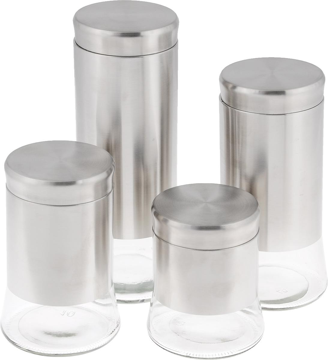 Набор банок для сыпучих продуктов, 4 предмета. GBS3023GBS3023Набор включает 4 банки разного объема, предназначенных для хранения сыпучих продуктов. Изделия выполнены из стекла и нержавеющей стали с матовой полировкой. Банки идеальны для хранения круп, макарон, сахара, сухофруктов, орехов и многого другого. Набор имеет стильный современный дизайн, отличается практичностью и функциональностью. Объем банок: 0,7 л, 1 л, 1,4 л, 1,7 л. Диаметр банок (по верхнему краю): 10 см. Диаметр основания банок: 11,5 см. Высота банок: 14 см, 18 см, 24 см, 29 см.